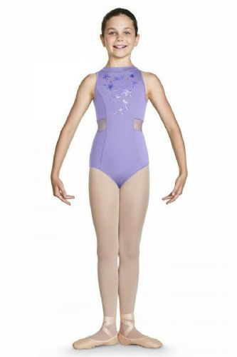 Bloch Girls Dance Leotard High Neckline Zip Back Floral Bodice CL4930 Adrika